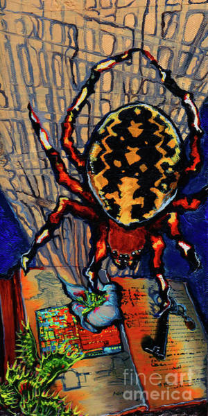 Spin Painting - Marbled Orbweaver by Emily McLaughlin