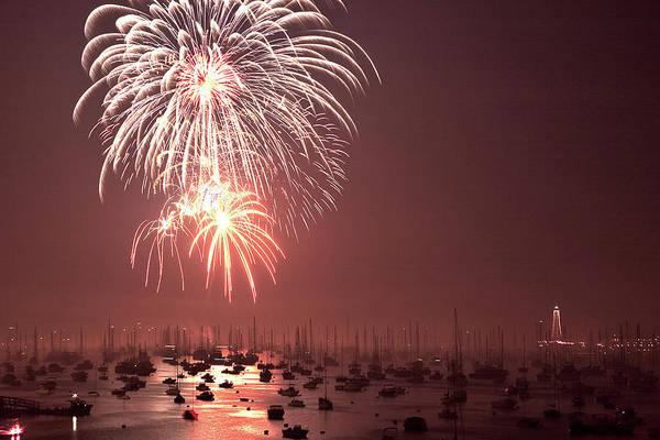Photograph - Marblehead Fireworks Above Masts by Jeff Folger