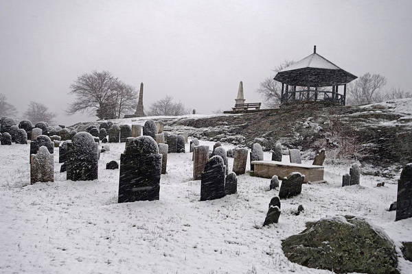 Photograph - Marblehead Ma Old Burial Hill Cemetery In The Winter Snow Gazebo by Toby McGuire