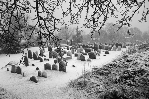 Photograph - Marblehead Ma Old Burial Hill Cemetery In The Winter by Toby McGuire