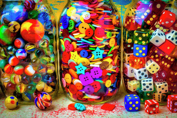 Wall Art - Photograph - Marbles Buttons And Dice Jars by Garry Gay