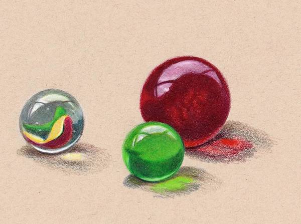 Wall Art - Drawing - Marbles In Color Pencil by Joyce Geleynse