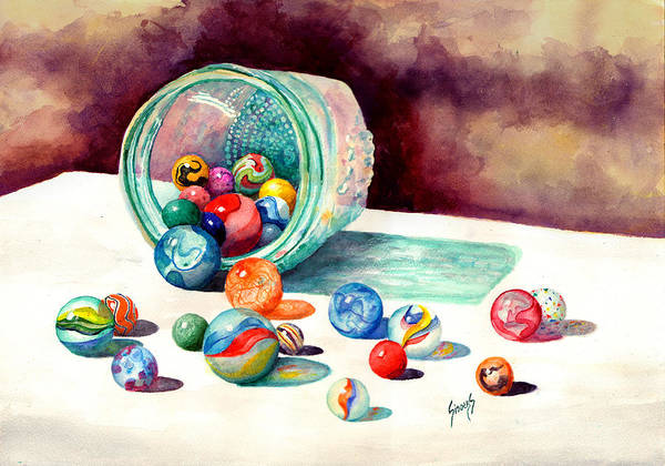 Orb Painting - Marbles by Sam Sidders
