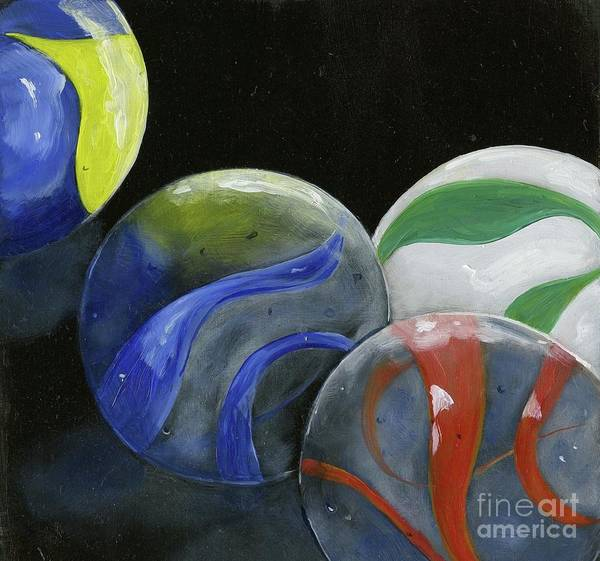 Wall Art - Painting - Marbles Still Life by Sheryl Heatherly Hawkins