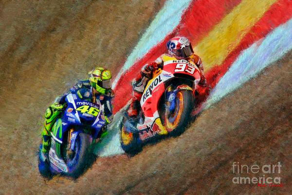 Photograph - Marc Marquez And Valentino Rossi by Blake Richards