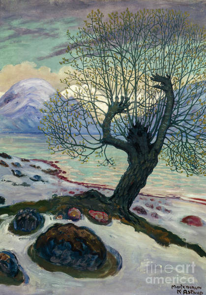 Nikolai Astrup Painting - March Morning, Spring Night And Sallow Man by Nikolai Astrup