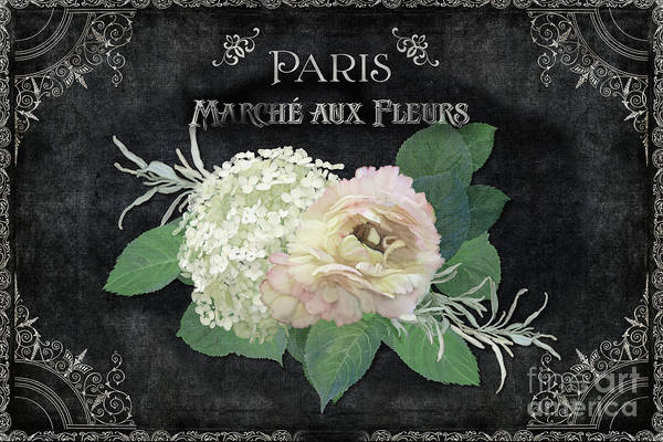 Wall Art - Painting - Marche Aux Fleurs 4 Vintage Style Typography Art by Audrey Jeanne Roberts