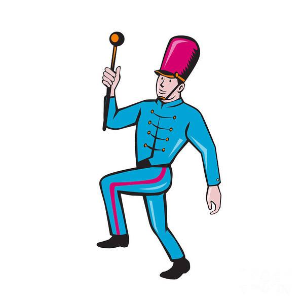 Marching Digital Art - Marching Band Leader Baton Cartoon by Aloysius Patrimonio