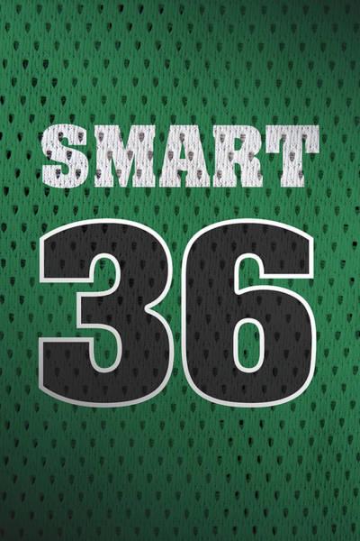 Celtic Mixed Media - Marcus Smart Boston Celtics Number 36 Retro Vintage Jersey Closeup Graphic Design by Design Turnpike