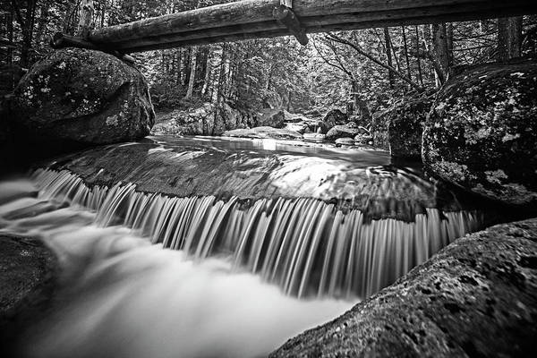 Photograph - Marcy Trail Waterfaill High Water Bridge Adirondacks New York Black And White by Toby McGuire