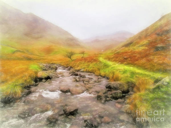 Haweswater Wall Art - Mixed Media - Mardale Beck To Harter Fell  by Linsey Williams