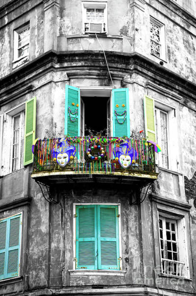 Wall Art - Photograph - Mardi Gras Balcony Fusion New Orleans by John Rizzuto