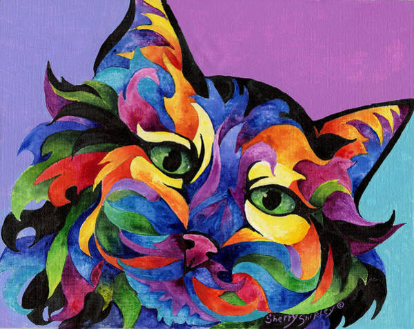 Painting - Mardi Gras Cat by Sherry Shipley