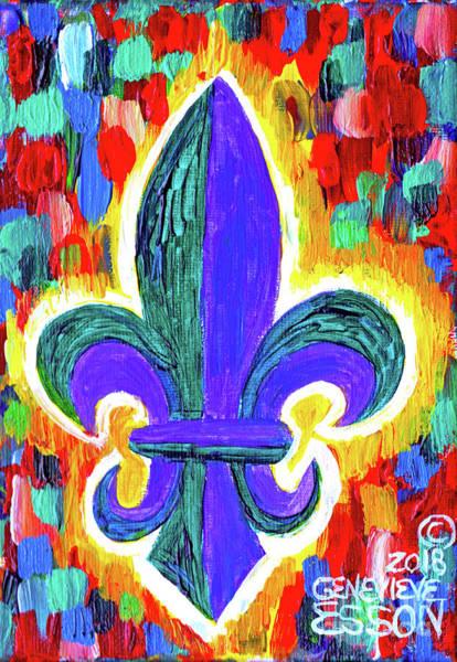 Fleur De Lys Painting - Mardi Gras Fleur De Lys by Genevieve Esson