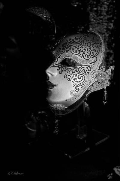 Photograph - Mardi Gras Mask  B-w by Christopher Holmes