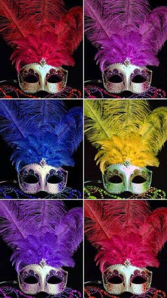 Photograph - Mardi Gras Mask Collage 2 by Sheila Kay McIntyre
