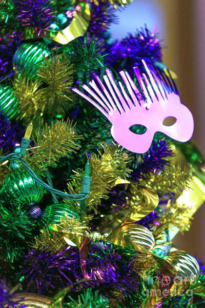 Photograph - Mardi Gras Mask On The Christmas Tree New Orleans by John Rizzuto