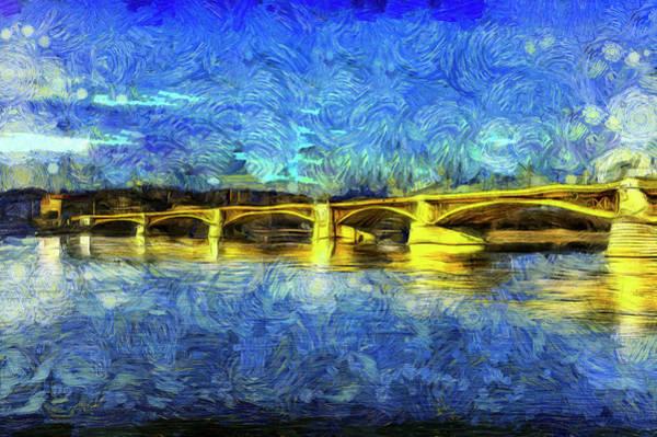 Wall Art - Photograph - Margaret Bridge Budapest Van Gogh by David Pyatt