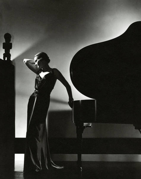 Evening Photograph - Margaret Horan Posing Beside A Piano by Edward Steichen