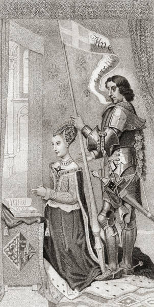 Wall Art - Drawing - Margaret Of Denmark With St. Canute by Vintage Design Pics