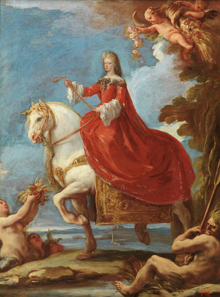 Jogging Painting - Maria Anna Of Neuburg, Queen Of Spain, On Horseback by Giordano Luca