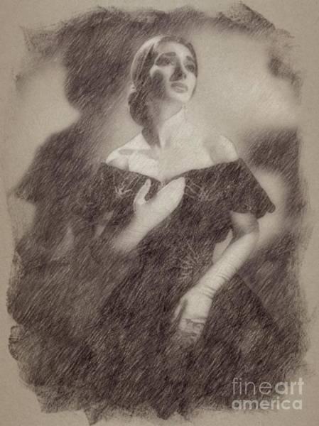 Wizard Drawing - Maria Callas, Soprano by Frank Falcon