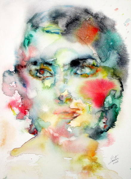 Opera Singer Painting - Maria Callas - Watercolor Portrait.3 by Fabrizio Cassetta