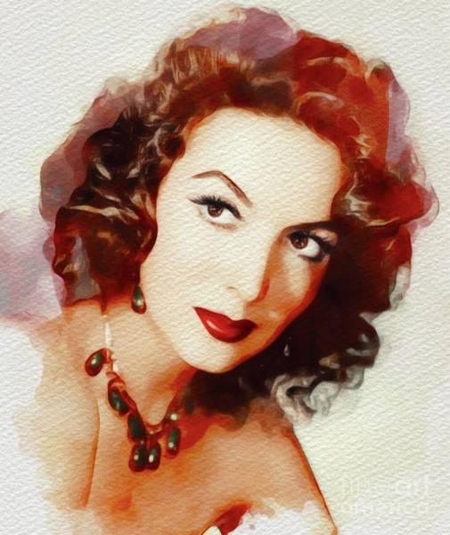 Stardom Painting - Maria Felix, Vintage Movie Star by John Springfield