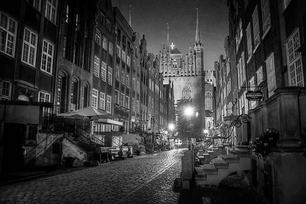 Brick Gothic Photograph - Mariacka By Night In Black And White by Carol Japp