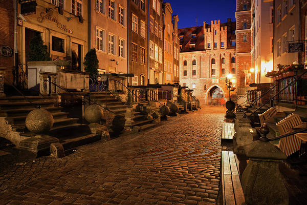 Wall Art - Photograph - Mariacka Street At Night In Old Town Of Gdansk by Artur Bogacki