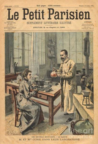 Photograph - Marie And Pierre Curie In Laboratory by Science Source