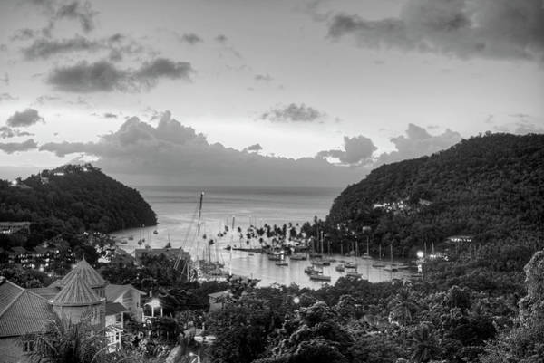 Photograph - Marigot Bay Sunset Saint Lucia Caribbean Black And White by Toby McGuire