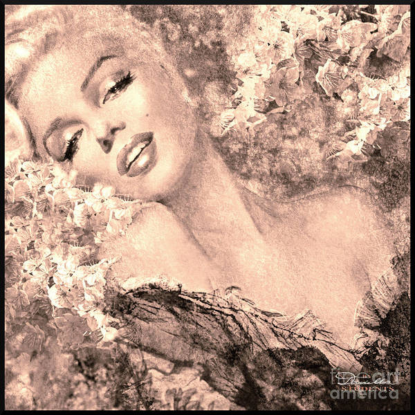 Marilyn Cherry Blossom, B Sepia Art Print