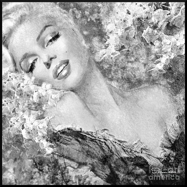 Painting - Marilyn Cherry Blossom Bw by Theo Danella