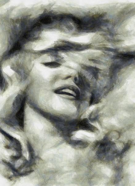Marilyn Drawing - Marilyn Dreamy By Mary Bassett by Mary Bassett