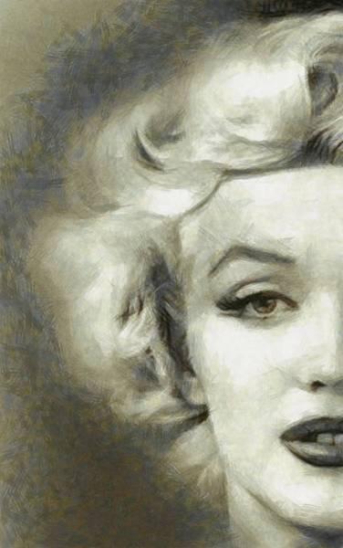 Marilyn Drawing - Marilyn Face Off By Mary Bassett by Mary Bassett
