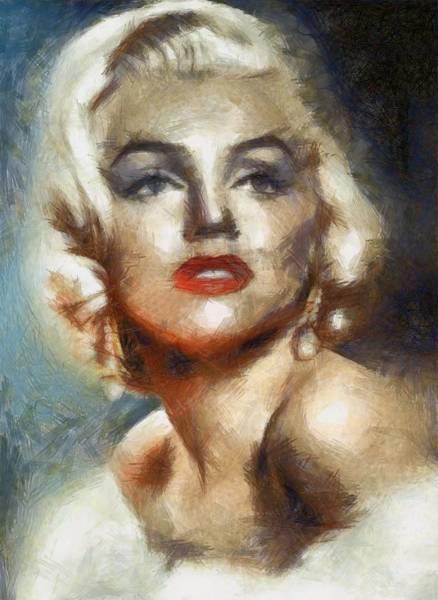 Marilyn Drawing - Marilyn Glamour By Mary Bassett by Mary Bassett