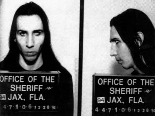 Photograph - Marilyn Manson Mug Shot Horizontal by Tony Rubino
