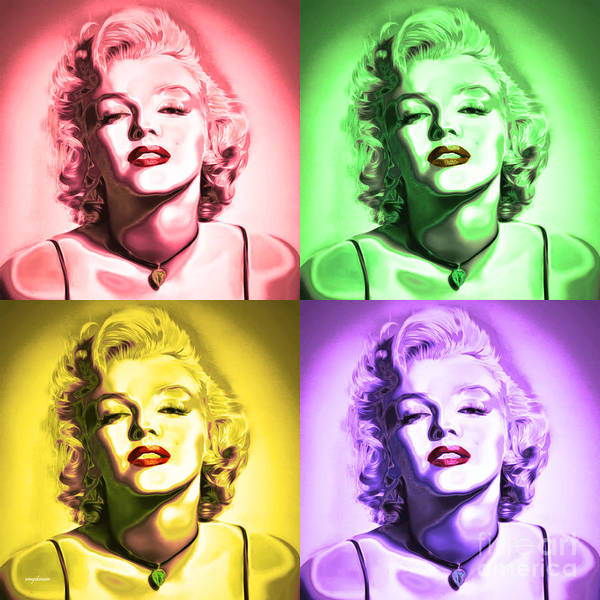 Photograph - Marilyn Monroe 20160104 Four Squares by Wingsdomain Art and Photography