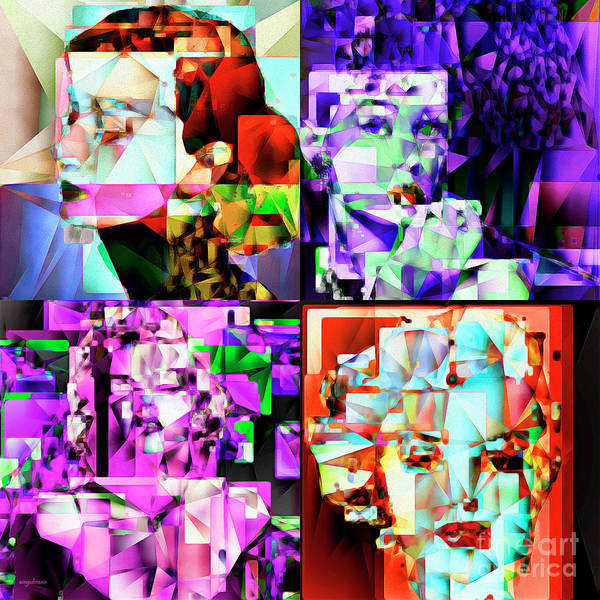 Photograph - Marilyn Monroe And Audrey Hepburn In Abstract Cubism 20170401 by Wingsdomain Art and Photography