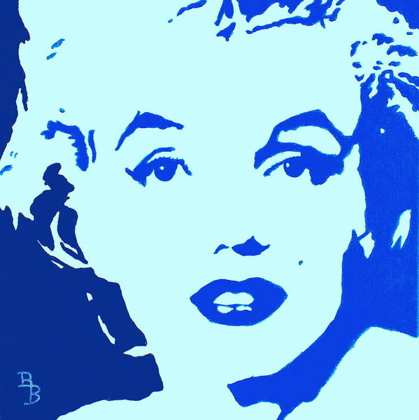 Painting - Marilyn Monroe Blue Pop Art Portrait by Bob Baker