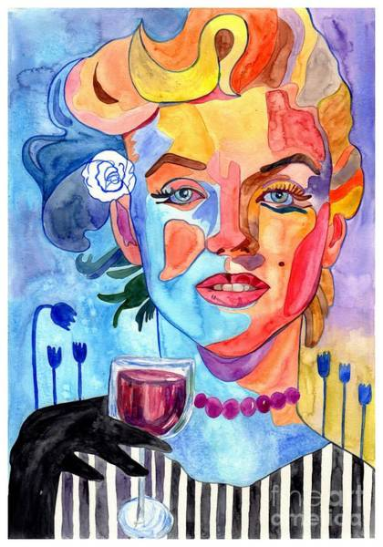 Wall Art - Painting - Marilyn Monroe Drinking Wine by Suzann Sines