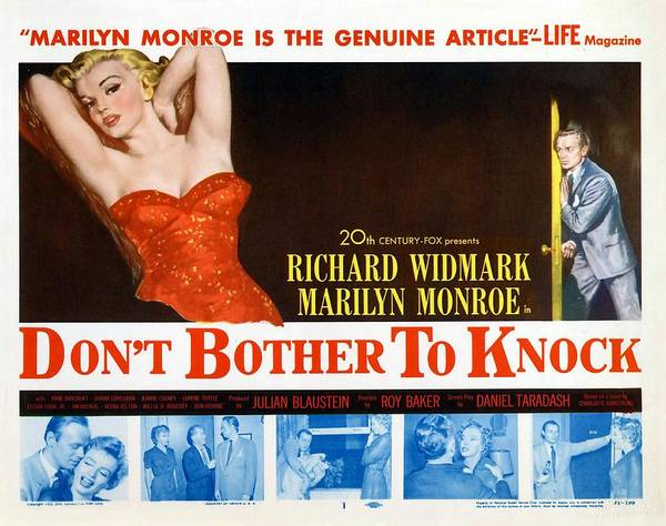 Jim Richards Photograph - Marilyn Monroe Movie Poster Don't Bother To Knock by R Muirhead Art