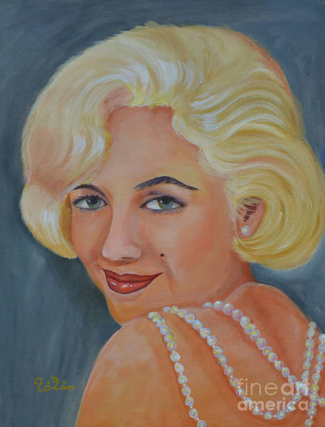 Child Actress Painting - Marilyn Monroe With Pearls by To-Tam Gerwe