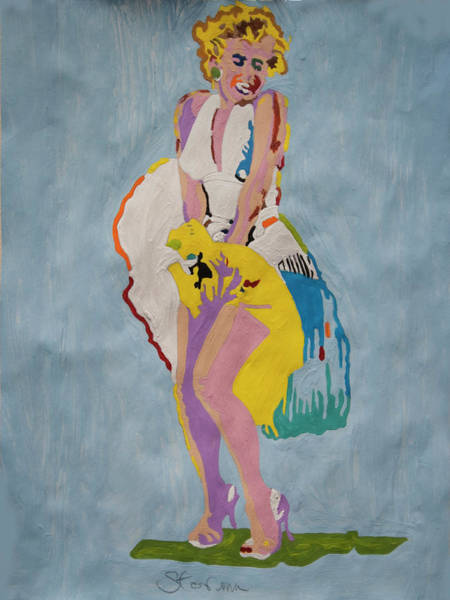 Norma Jeane Mortenson Painting - Marilyn White Dress by Stormm Bradshaw