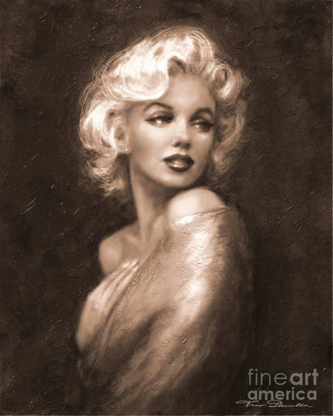 Painting - Marilyn Ww Sepia by Theo Danella