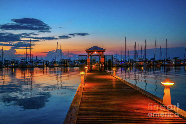 Art Print featuring the photograph Marina Sunrise by Tom Claud