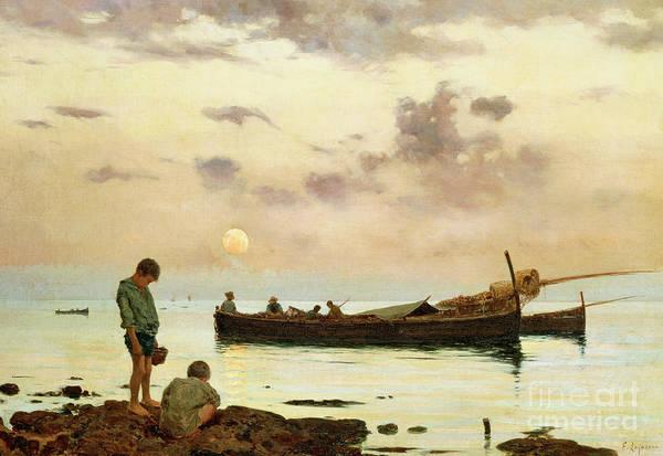 Wall Art - Painting - Marina With A Fishing Boat And Boys by Francesco Lojacono