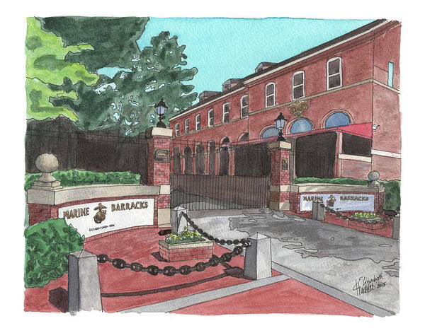 Painting - Marine Barracks Welcome by Betsy Hackett
