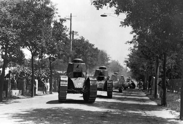 Utility Pole Photograph - Marine Corps Tanks In China by Underwood Archives